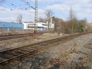 Der Abzweig der Lumdatalbahn von der Main-Weser-Bahn nördlich des Bahnhofs Lollar.