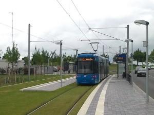 Endhaltestelle der Linie 1 des Kasseler Straßenbahnnetzes  am Ortsrand von Vellmar.