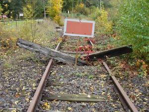 Bisheriges Streckenende von Frankenberg kommend nördlich kurz hinter dem bisherigen Haltepunkt Herzhausen. Ab hier rückwärts blickend ist die Strecke bislang komplett stillgelegt und zugewachsen.