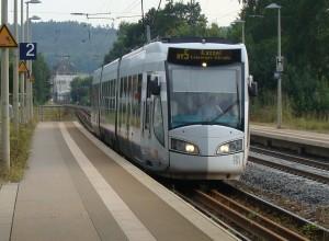 Ein Zug der RegioTram der Linie RT 5 im Bahnhof Melsungen, der Endhaltestelle der RegioTram an der Bahnstrecke Kassel-Bebra