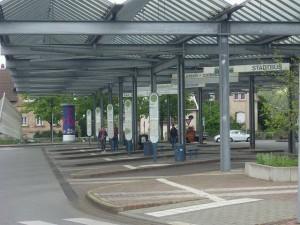 Der Zentrale Omnibusbahnhof (ZOB) in Bensheim.