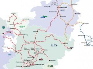 Das Streckennetz der Hessischen Landesbahn mit Strecken auch in den benachbarten Bundesländern. Stand: Dezember 2015. Quelle: HLB