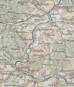 Der Verlauf der Werratalbahn in der Topografischen Karte.