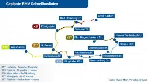 Das sollen die Schnellbuslinien rund um Frankfurt werden, so der HR und der RMV. Quelle dieser Karte: hessenschau.de