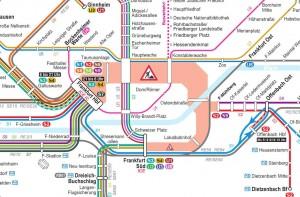So sieht der Liniennetzplan für die S-Bahnen und U-Bahnen in und um Frankfurt am Main während der Tunnelsperrung aus. (Quelle: RMV)